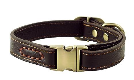 ZEEY Cuero auténtico collar de perro ajustable básico, cuello de 30 cm-43 cm