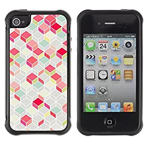 WAWU Funda Carcasa Bumper con Absorci??e Impactos y Anti-Ara??s Espalda Slim Rugged Armor -- polygon pattern pink teal 3d lines classy -- Apple Iphone 4 / 4S