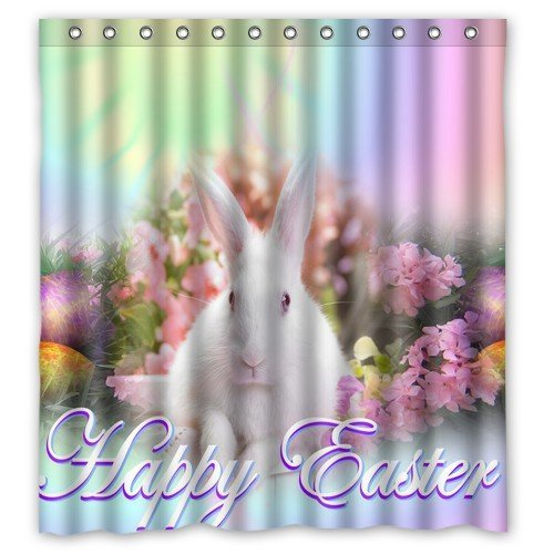 Personalized Bathroom Decor Happy Easter Rabbit Flower Pattern Shower Curtain 66 X 72-waterproof Polyester Fabric Shower Curtain Super Soft -Bath Curtain