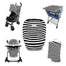 SHELLBOBO Stretchy Nursing Canopy Baby Car Seat Cover Stroller Wrap Stripes Print (black)