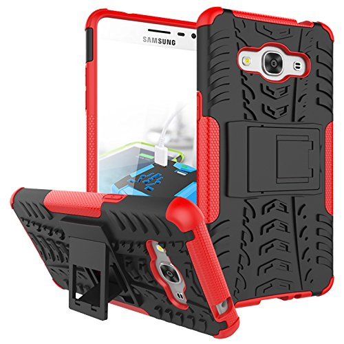 J3 Emerge Case, Galaxy J3 2017/ Amp Prime 2/ J3 Luna Pro/ Express Prime 2 Case, KMISS Hybrid Heavy Duty Armor Protection Cover [Anti Slip] [Built-In Kickstand] Skin Case For Samsung J3 Emerge (Red)