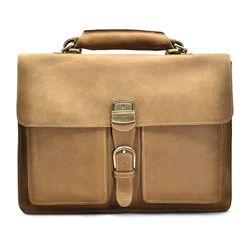Hølssen Tan Satchel Briefcase Messenger 15'' Laptop Genuine Leather Bag by Hølssen