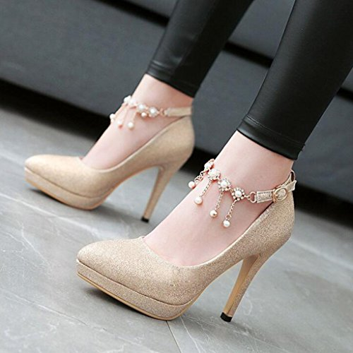 Superior Parte Zapatos Boca Cabeza Spring Mujer De Poco con Lentejuelas Tacones Acentuada Finos Tacones De Oro Tela Profunda 45CqOdqcxw