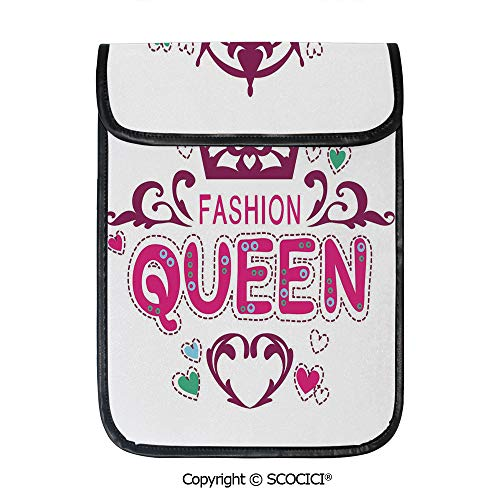 SCOCICI Tablet Sleeve Bag Case,Cute Girlish Print Fancy Fashion Queen Lettering Floral Heart Shaped Ornaments Cute,Pouch Cover Cases for iPad Pro 12.9 in and Any Tablet ()