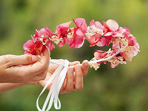 Preserved garnets hydrangeas Crown. Cherry red garnet preserved flowers Diadem. Rustic bride marguerite Tiara