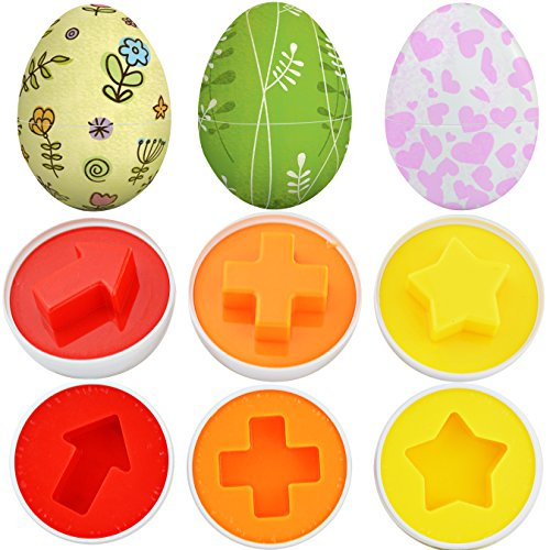 Toddler gifts for easter amazon hmxpls blank white 6pcs funny wisdom toy clever matching shapes eggs baby toys party game for age 3 kids easter egg christmas gift 6 shape colors negle Image collections