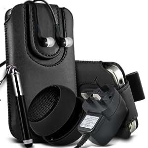 Nokia Lumia 925 Protective PU Leather Slip cuerda del tirón magnético En la bolsa del lanzamiento rápido con Mini capacitiva lápiz óptico retráctil, 3.5mm en auriculares del oído, Mini recargable altavoz de la cápsula, Micro USB CE aprobado 3 Pin Cargador (Negro)