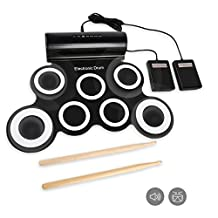 JouerNow 7 Pads Electronic Roll Up Drum Pad Kit, Waterproof Silicone Foldable Digital Hand Roll Drum Set with Sticks & Foot Pedals, USB Powered, Support Computer Music Games, Black & White