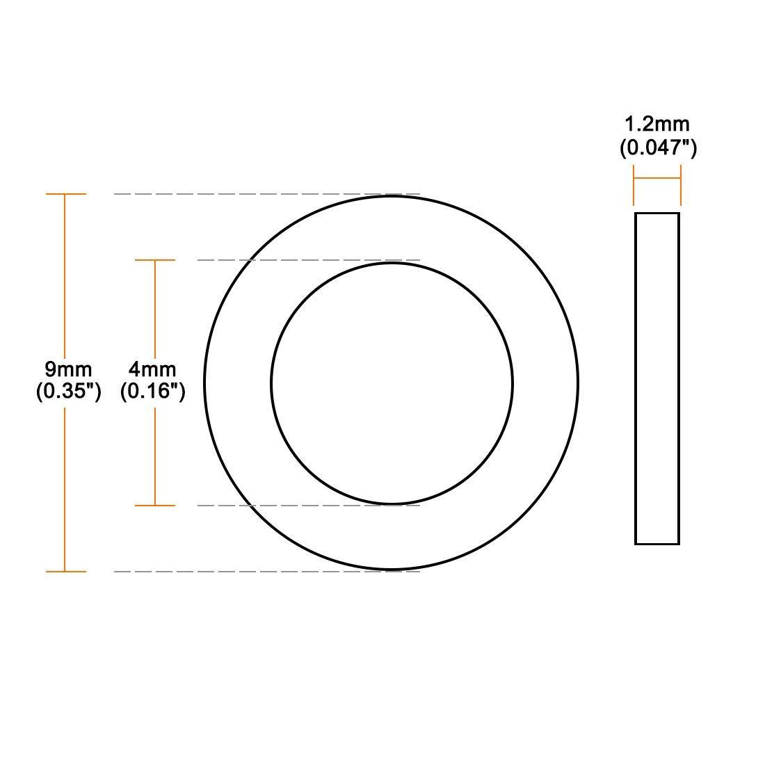 4 mm Internal Diameter 9 mm External Diameter 1.2 mm Thick 20 Pieces Rubber Flat washers