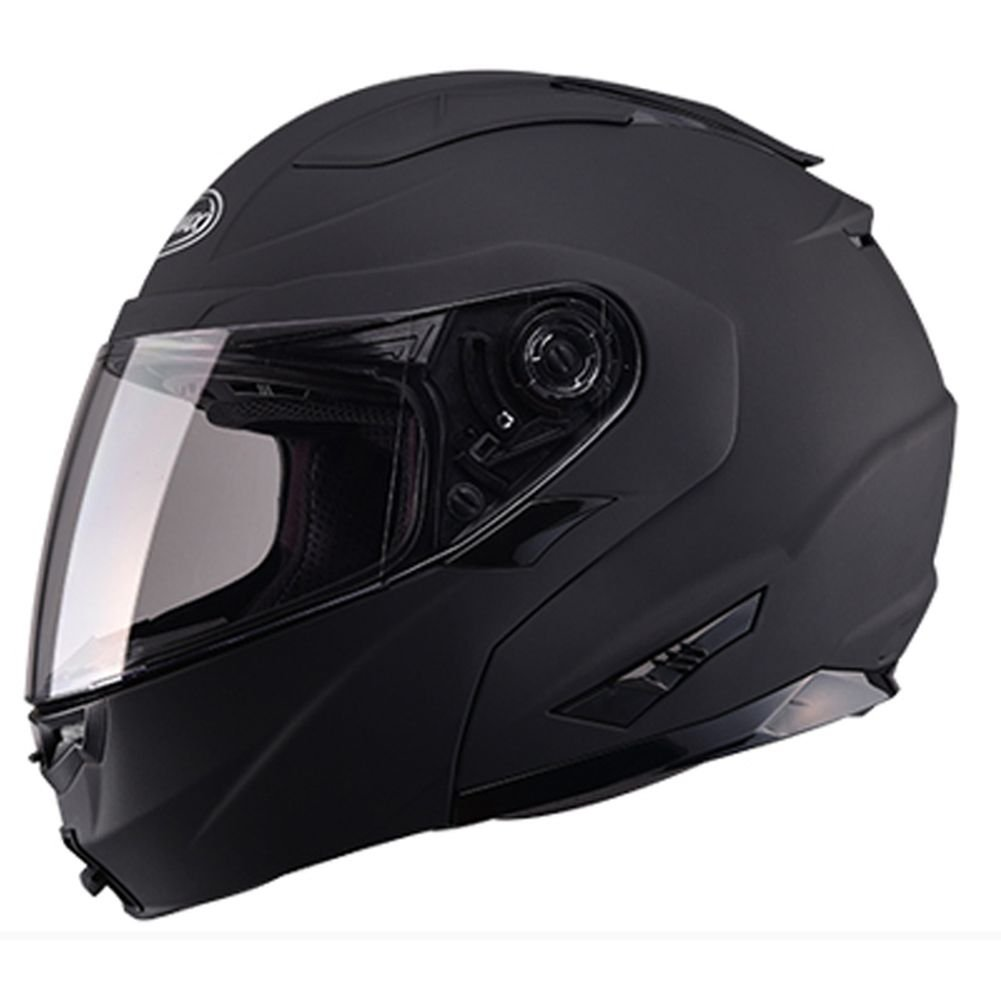GMAX GM64 Modular Derk Mens Full Face Motorcycle Helmet Flat Black//Silver//Medium