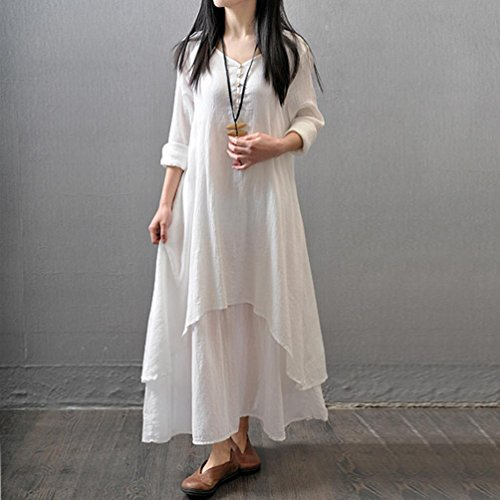Largo WINWINTOM Fiesta Vestido Lino Blanco larga Manga Boho Maxi Vestir Casual Mujer Suelto w8YqqU