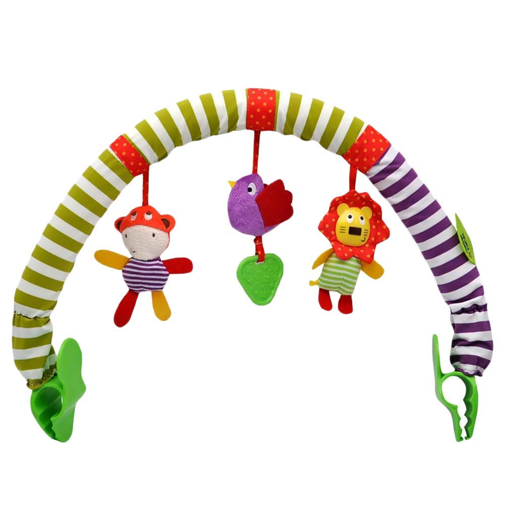 Sunny Stroll Activity Arch with Rattle Toys Pushchair or Baby Car Seat Universal Attachment Clips Fit any Pram Meadow Days Activity Cloth Animal Toy Pram Activity Bar with Rattle//Squeak 0 Month +