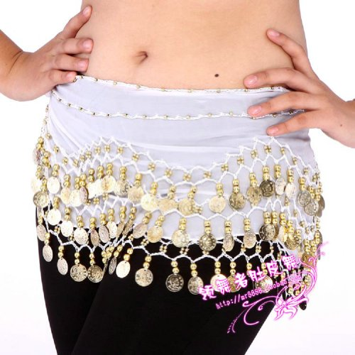 Mystiqueshapes Chiffon Dangling Gold Coins Belly Dance Hip Scarf (White)