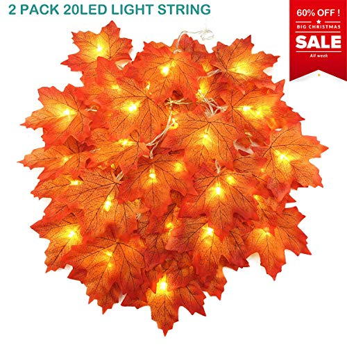 McDoo! LED Maple Leaf Lights String - 2 Pack 20 LED 9.8 fts Christmas Decorations Autumn Fairy Lights of Maple Leaves - Indoor Outdoor Wire Lights Fall Garland for Thanksgiving, Christmas, Halloween