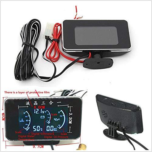 Gauge Oil Temperature Lcd - FidgetGear 97mmx56mm LCD 3In1 Car Oil Pressure/Voltage/Water Temperature Gauge Meter 9/36V