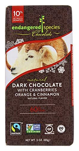 Endangered Species Natural Dark Chocolate with Cranberries Orange & Cinnamon Natural Flavor, 3 ()