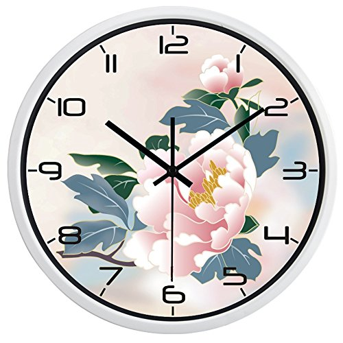 14inch White Metal Frame Painting Peony Picture Silent Non Ticking Glass Quartz Decorative Wall Clock (Wall Decorative Clock Peonies)