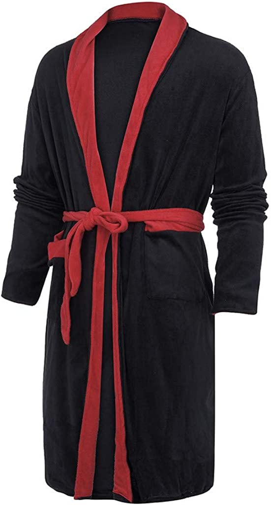 Fatchot Mens Bathrobe Towelling Bath Robe with Hood Belt Soft Absorbent and Comfortable Bath Robes