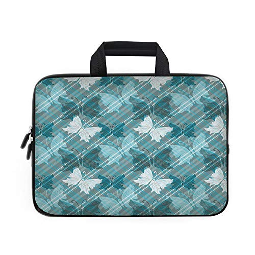 Grunge Laptop Carrying Bag Sleeve,Neoprene Sleeve Case/Butterflies Pattern Checkered Backdrop Animal Spring Season Inspirations Decorative/for Apple Macbook Air Samsung Google Acer HP DELL Lenovo Asus