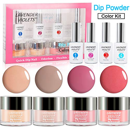 Acrylic Dip Powder Nails Color Kit Dipping Manicure 4 Color Set No UV/LED Nail Lamp Needed J765