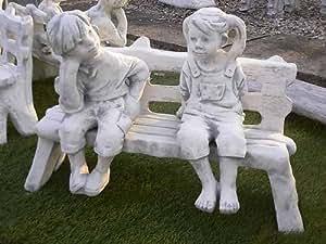 Figura niña y niño en una piedra Banco de piedra de piedra + Incluye instrucciones de Original Cuidado de figuras Mundo