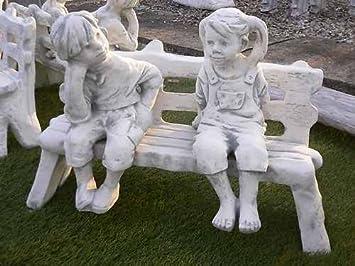 Steinfiguren Garten mädchen und junge auf bank steinfigur steinguss inkl original