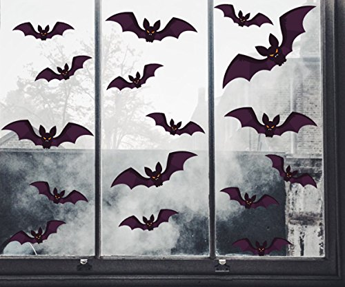 Moon Boat 144 PCS Halloween Party Decorations Bat Window Clings Decal Supplies(18 Sheets)