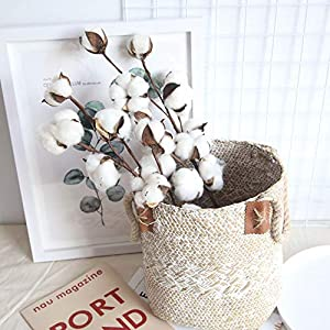 Youmymind 30 Heads Artificial Flowers Naturally Dried Cotton Stems Real Looking Filler Floral Decor Bridal Wedding Bouquet Home Decoration 3pcs 31