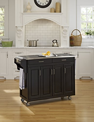 Home Styles 9200-1042 Create-a-Cart 9200 Series Cabinet Kitchen Cart with Stainless Steel Top, Black Finish by Home Styles (Image #1)