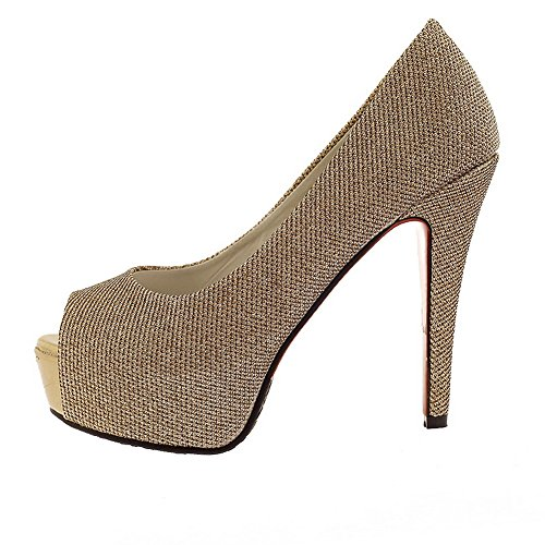VogueZone009 Ladies Open Peep Toe High Heel Stiletto Platform PU Frosted Solid Sandals Gold D8mvk8di