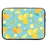 Jomenten Pattern with Lemons Flowers Leaves and Oranges 13/15 Inch Laptop Sleeve Bag for MacBook Air 11 13 15 Pro 13.5 15.4 Portable Zipper Laptop Bag Tablet Bag,Diving Fabric,Waterproof Black