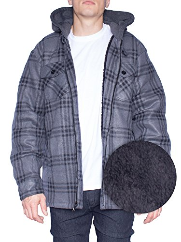 Hoodie Flannel Fleece Jacket For Men Zip Up Big & Tall Lined Sherpa Sweatshirts (3XL, Grey/Black)