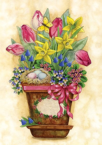 (Toland Home Garden Potted Spring 12.5 x 18 Colorful Flower Bouquet Tulip Daffodil Garden Flag)