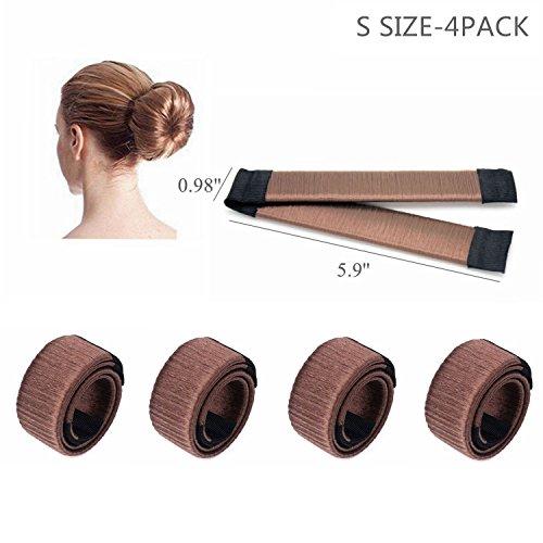 CLOTHOBEAUTY small size DIY Hair Bun Making Women Girls Kids Hair Bun Making Styling Twist Donut Bun Hairstyle Tool,kids/child hair bun maker, for thin/short hair(5.9, 4 Pack) (Brown)