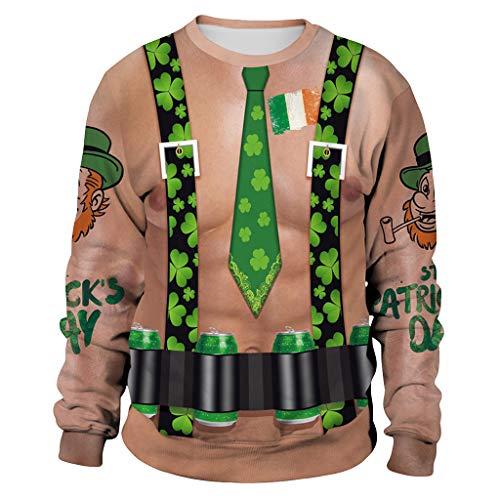 - St. Patrick's Day Men Fashion Printing Green Clover Sweatshirt Tops