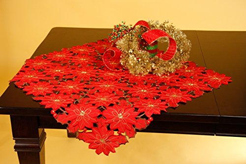 Wimpole Street Creations Red All Over Poinsettia Flower Pattern Christmas 36 Inch Table Topper by Wimpole Street Creations