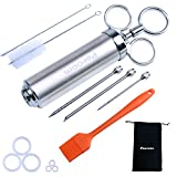Peroom Meat Injector, 2-oz 304 Stainless Steel Marinade Flavor Injector Syringe Kit with 3 Needles, 2 Cleaning Brushes and 6 Silicone O-rings, Basting Brushes - 100% BPA Free Food Grade Material