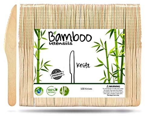 Eco Friendly Bamboo utensils, Disposable Wooden Cutlery, Compostable, Biodegradable and All Natural, Wedding and Party Supplies Wooden Silverware (100, Knives)