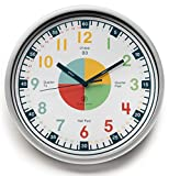 (US) Teaching Clock with Silent Movement | Educational Clock that Makes Kid's Learning Time Faster + Fun. Quiet Child's Wall Clock Perfect for Parents and Teachers, Toddler's Bedroom or Classroom.
