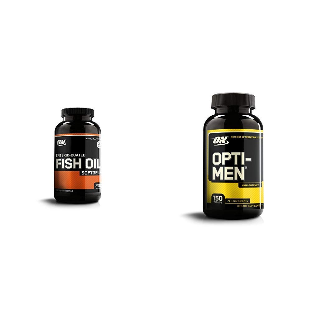 OPTIMUM NUTRITION Omega 3 Fish Oil, 300MG, Brain Support Supplement with Opti-Men, Mens Daily Multivitamin Supplement with Vitamins C, D, E, B12