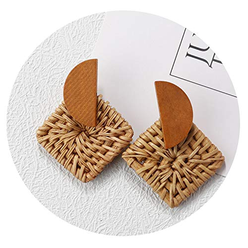(2019 Handmade Bamboo Braid Pendant Drop Earrings Rattan Vine Knit Long Earrings Girl,Brown Square)