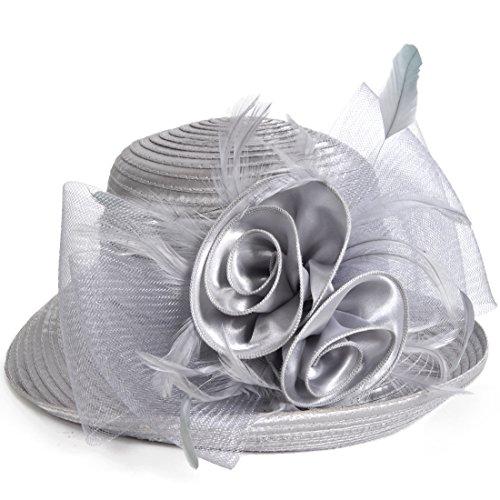 Lightweight Kentucky Derby Church Dress Wedding Hat #S052 (Bowler-Grey)