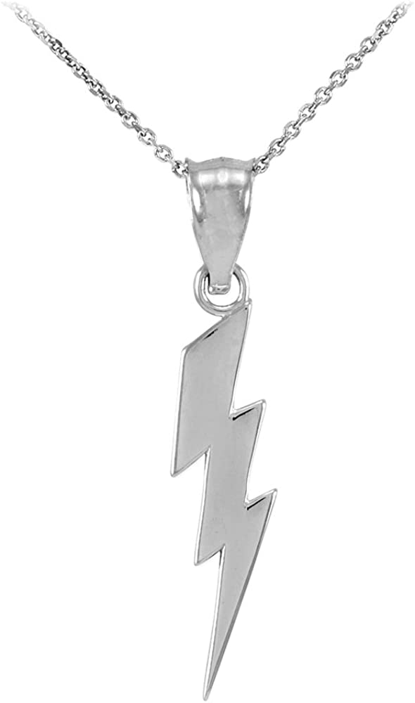 High Polish 925 Sterling Silver Lightning Bolt Charm Pendant Necklace