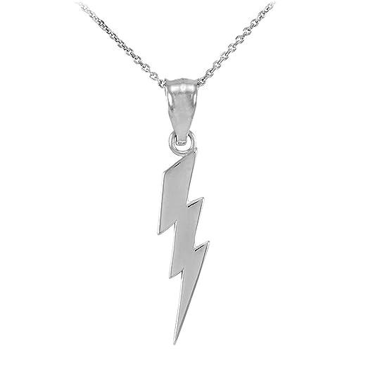 Amazon polished 14k white gold lightning bolt charm pendant polished 14k white gold lightning bolt charm pendant necklace 16quot mozeypictures Choice Image