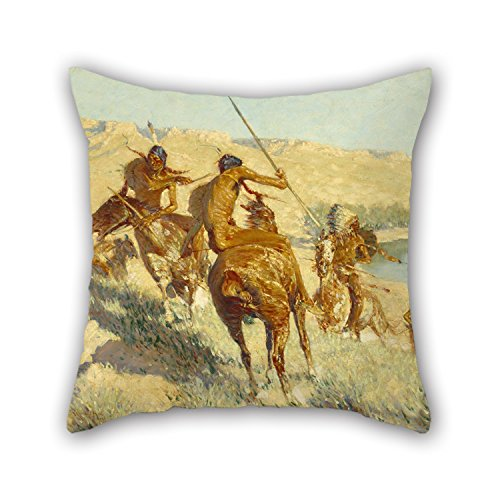 throw-pillow-case-of-oil-painting-frederic-remington-episode-of-the-buffalo-gunfor-pubfestivalcar-se