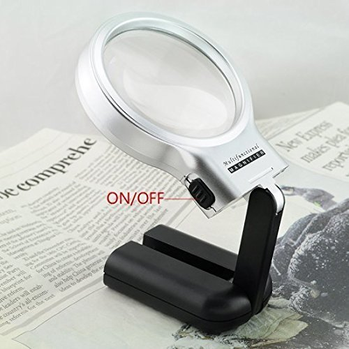 Careshine 3X Collapsible Magnifier Handheld Magnifying Glass LED Lighted Magnifier Folding Stand