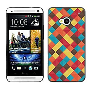 FECELL CITY // Duro Aluminio Pegatina PC Caso decorativo Funda Carcasa de Protección para HTC One M7 // Pastel Teal Yellow Colors Blanket