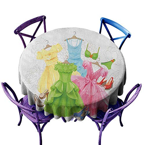 ONECUTE Custom Tablecloth,Heels and Dresses Princess Outfits Bikini Shoes Wardrobe Party Costumes in Girls Design,Stain Resistant, Washable,47 INCH Multicolor ()