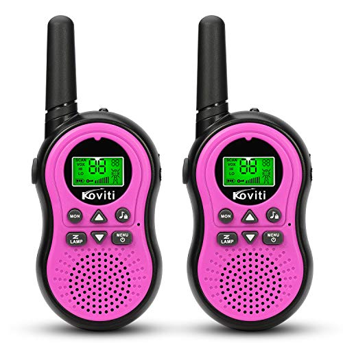 Koviti Kids Walkie Talkies 2 Way Radio 22 Channel Range Up to 3Miles UHF Walky Talkies Interphone Toy Gift for Kids (Pink,2 Pack)