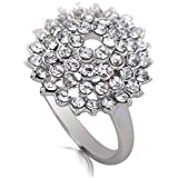 18K White Gold Plated Crystal Round-shape Ring Jewelry Lover Gift CZ Rhinestone LOVE STORY (9#)